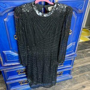 Vintage NiteLine Dress Black Silk Beaded Sz 6